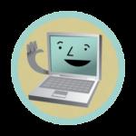 Laptop computer waving at you.