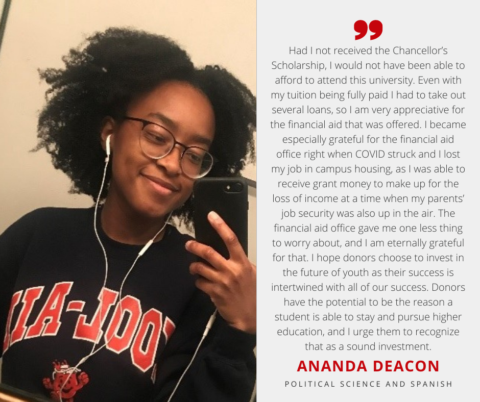 Ananda Deacon with Scholarship Quote