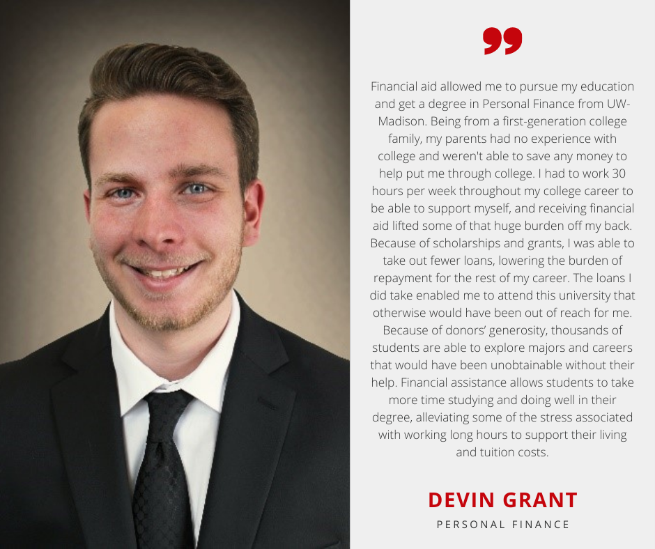 Devin Grant with Scholarship Quote