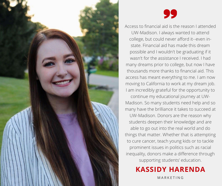 Kassidy Harenda with Scholarship Quote