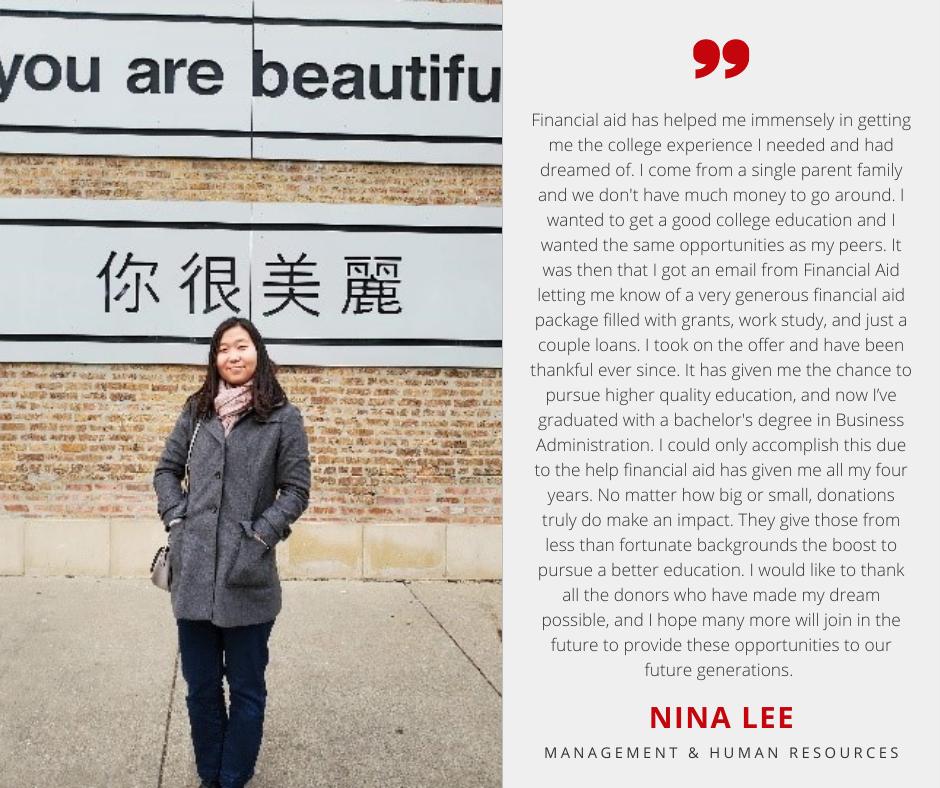 Nina Lee Photo with Scholarship Quote