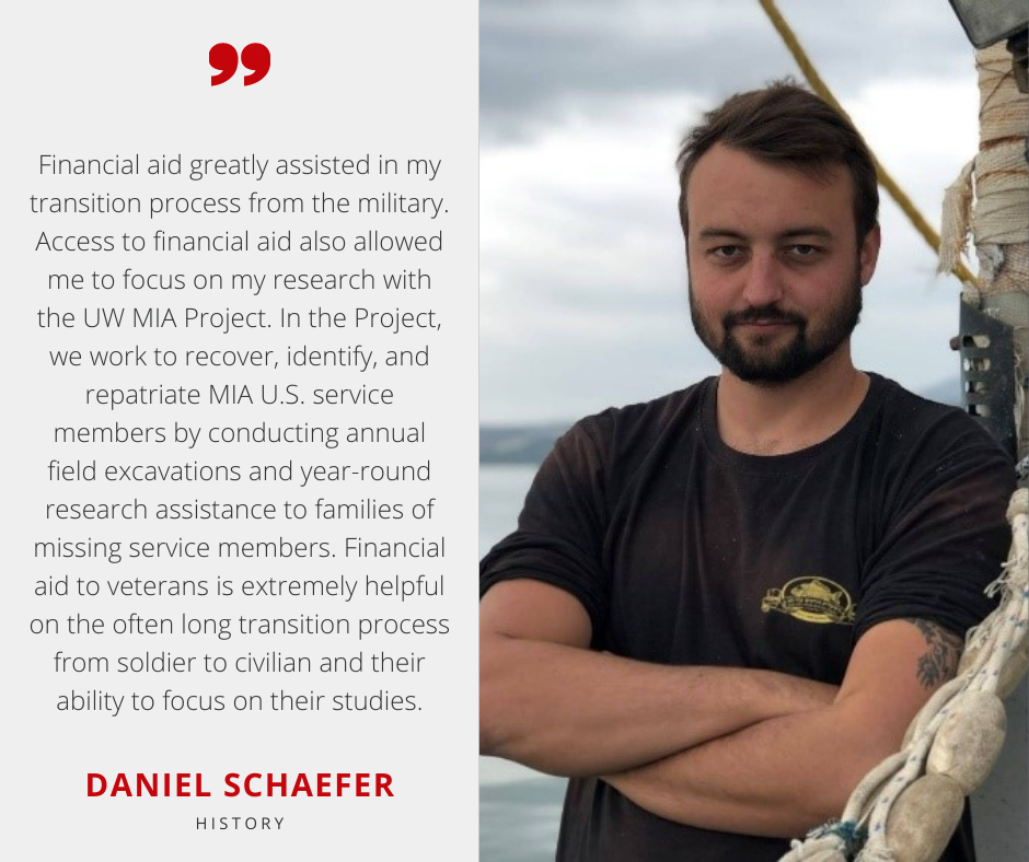 Daniel Schaefer with Scholarship Quote