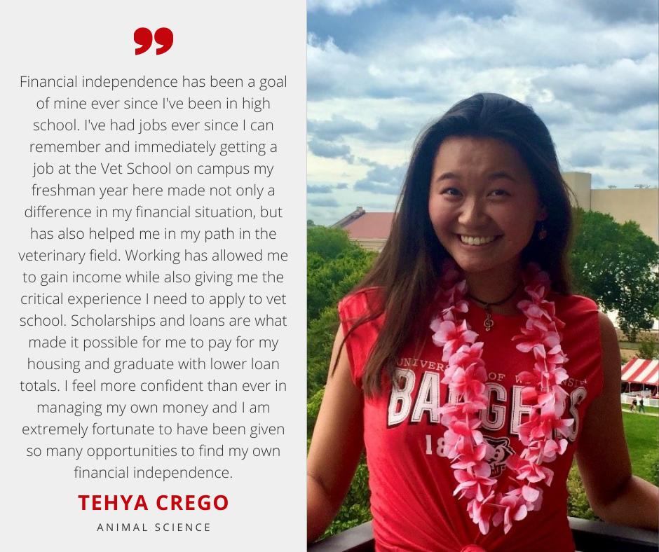 Tehya Crego with Scholarship Quote