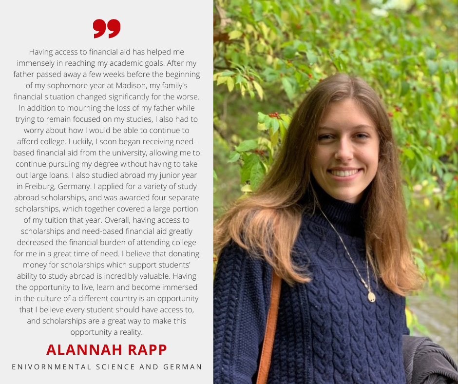 Alannah Rapp with Scholarship Quote
