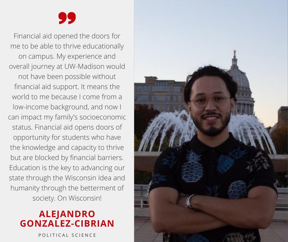 Alejandro Gonzalez-Cibrian with Scholarship Quote