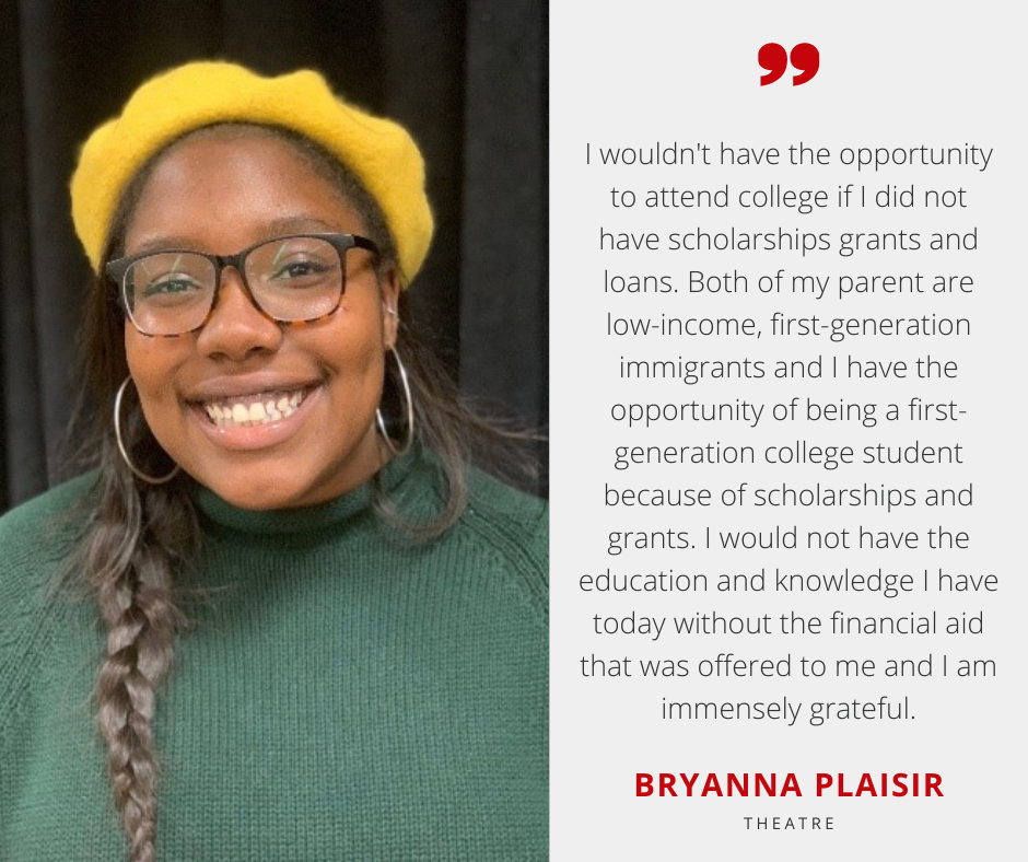 Bryanna Plaisir with Scholarship Quote