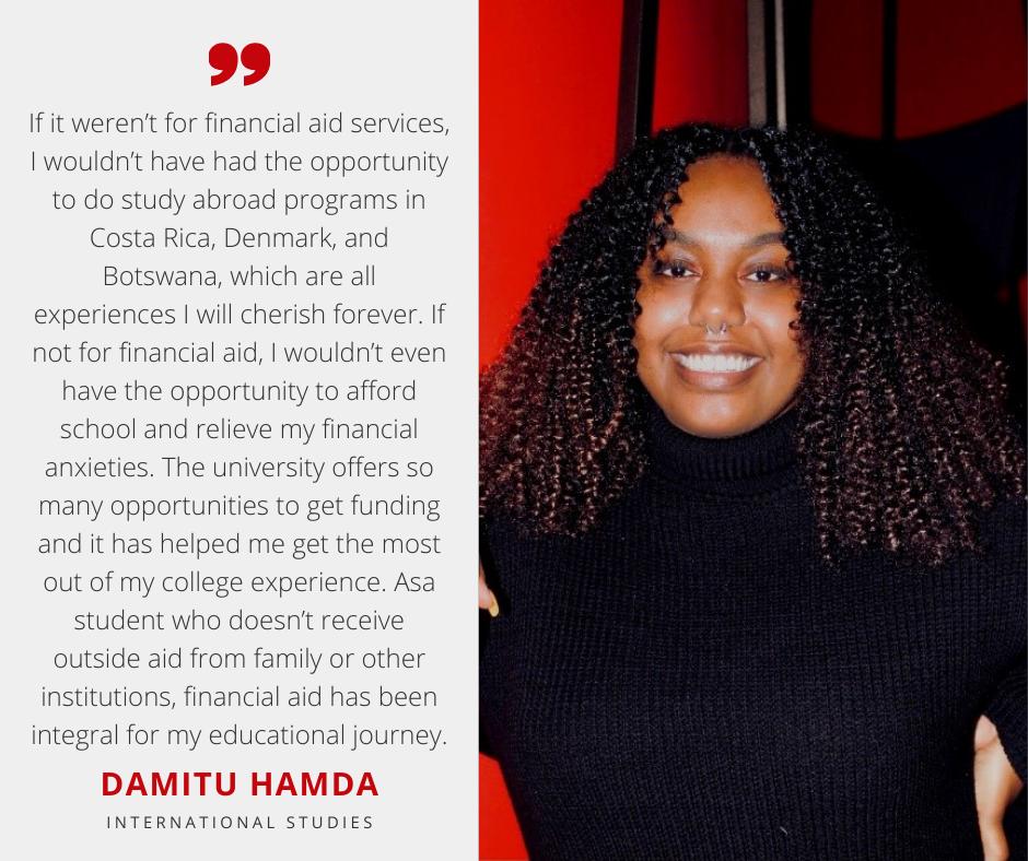 Damitu Hamda with Scholarship Quote